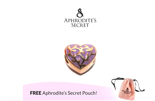 Aphrodite's Secret High Quality Gold Heart Charm Bead (Pandora Inspired) Stainless Steel (Purple)