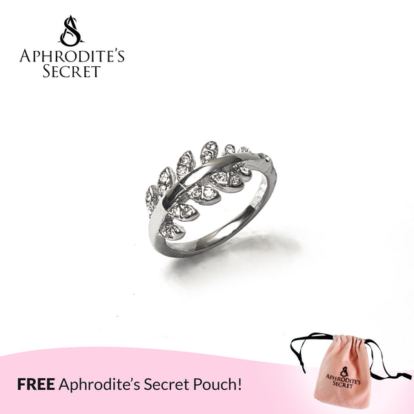 Aphrodite's Secret High Quality Stainless Steel Rhinestone Leaf Design Ring