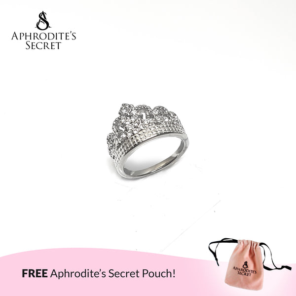 Aphrodite's Secret High Quality Stainless Steel Rhinestone Crown Design Ring