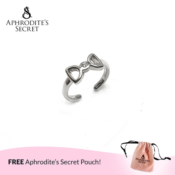 Aphrodite's Secret High Quality Stainless Steel Bow Tie Ribbon Design Open Ring