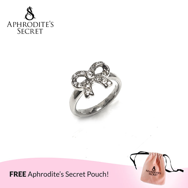 Aphrodite's Secret High Quality Stainless Steel Studded Ribbon Design Ring