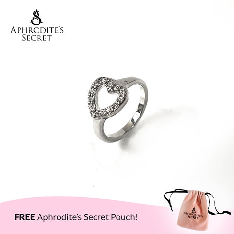 Aphrodite's Secret High Quality Stainless Steel Studded Heart design Ring