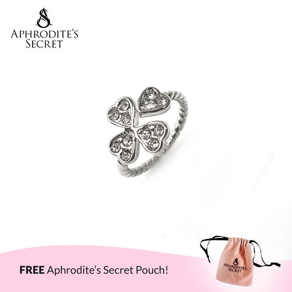 Aphrodite's Secret High Quality Stainless Steel Studded Four-Leaf Clover Design Ring