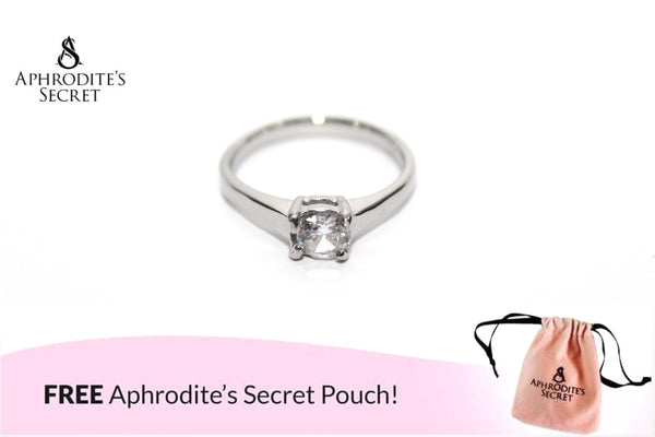 Aphrodite's Secret High Quality Stainless Steel  Rhinestone Plain Design Ring