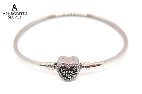 Aphrodite's Secret High Quality Inlay Love Script Clasp Bangle - (Pandora Inspired) Stainless Steel