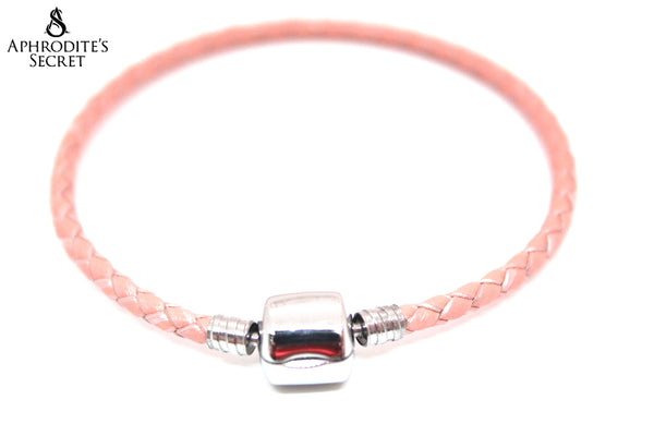 Aphrodite's Secret High Quality Braided Leather Barrel Snap Clasp Bracelet (Pandora Inspired) Stainless Steel  (Pink/Peach)