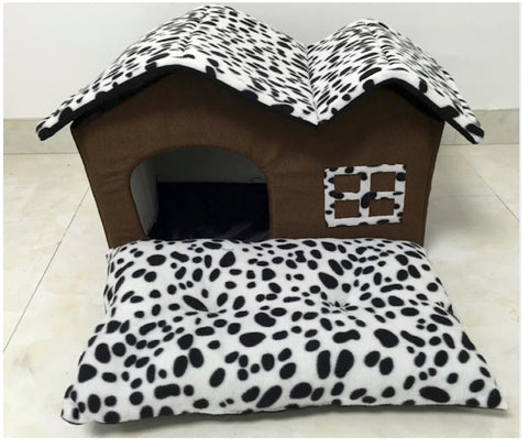 High Quality Pet Bed House Dalmatian Print Design (Brown)