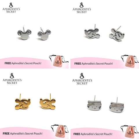 4 PAIRS SET - Aphrodite's Secret High Quality Stainless Steel  Mickey & Kitty Design Earrings (SAVE P499)