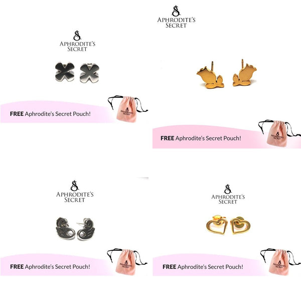 4 PAIRS SET - Aphrodite's Secret High Quality Stainless Steel  Gold & Silver Design Earrings (SAVE P400)