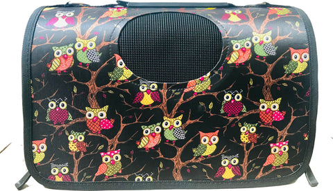 High Quality Small Dog  Foldable Carrier owl design (Black)