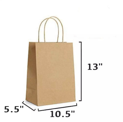 30 PCS (Medium Size) Regular Brown Paper Gift Bags with Handle (10.5 x 5.5 x 13 inches)