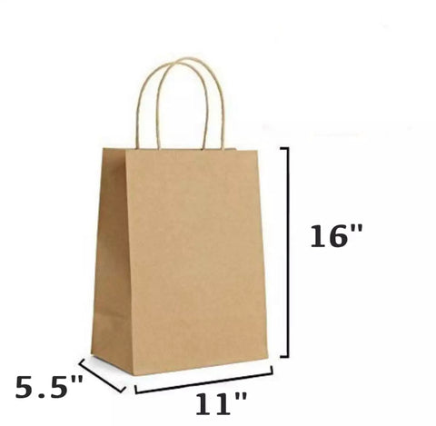 30 PCS (Large Size) Regular Brown Paper Gift Bags with Handle (11 x 5.5 x 16 inches)