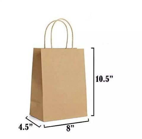 30 PCS (Small Size) Regular Brown Paper Gift Bags with Handle (8 x 4.5 x 10.5 inches)