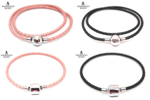4 PCS - Aphrodite's Secret High Quality Leather charm Bracelet (Pandora Inspired) Stainless Steel