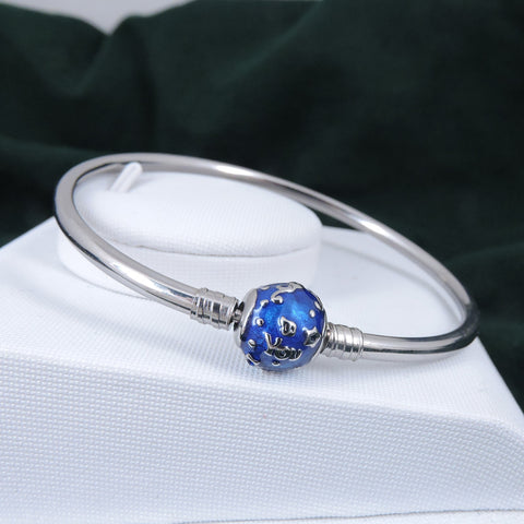 Aphrodite's Secret High Quality Snowflakes Charm Bangle - (Pandora Inspired) Stainless Steel (Blue)