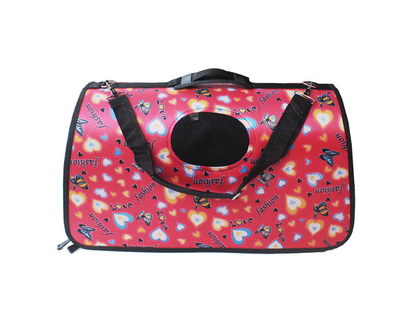 High Quality Big Dog  Foldable Carrier Butterfly Heart Design (Fuschia Pink)