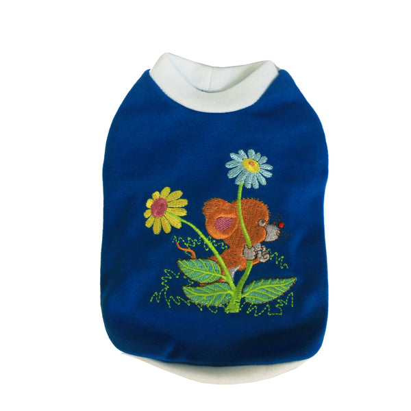 High Quality Dog Clothes Cotton Flowers Mouse design (Blue)