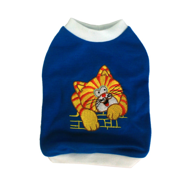 High Quality Dog Clothes Cotton Cat Design (Blue) Small