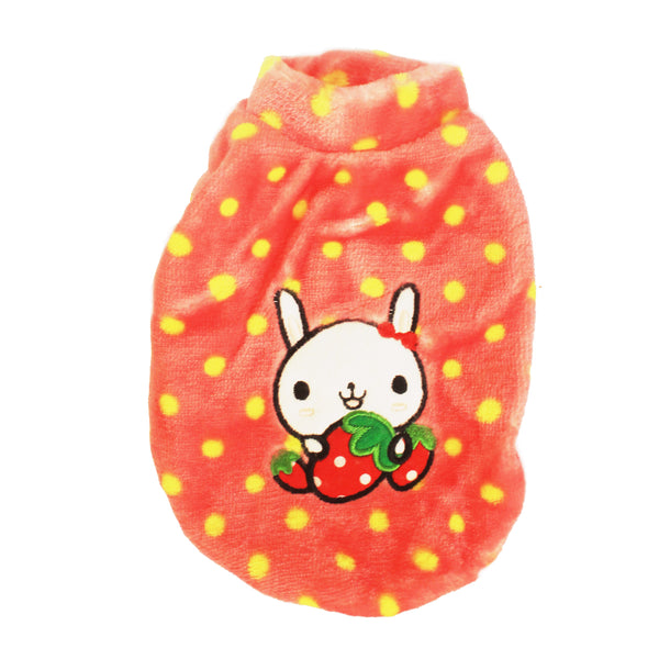 High Quality Dog Clothes Fleece Fabric Cute Rabbit Design (Pink) Small