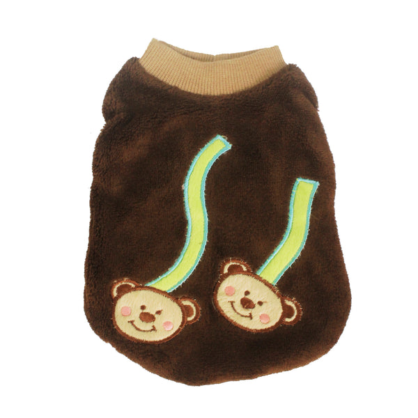 High Quality Dog Clothes Cotton Monkeys Design (Brown) Small