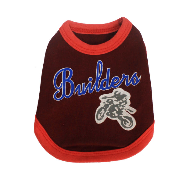 High Quality Dog Clothes Cotton Builders Design (Maroon) Extra Small