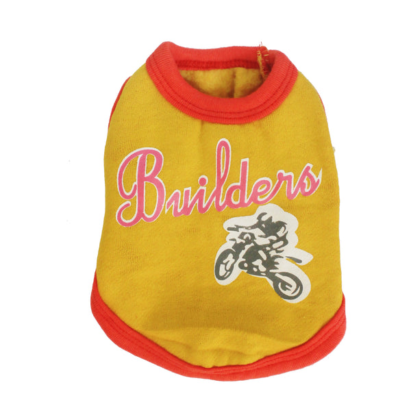High Quality Dog Clothes Cotton Builders Design (Yellow) Extra Small