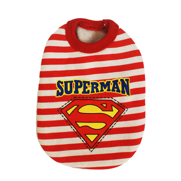 High Quality Dog Clothes Cotton Stripes Red Superman Design Extra Small