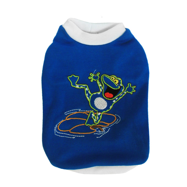 High Quality Dog Clothes Cotton Frog Design (Blue) Small