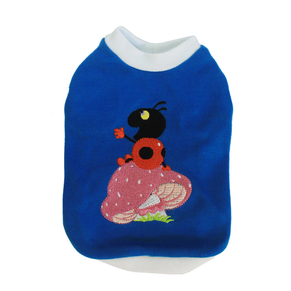 High Quality Dog Clothes Cotton  Beetle Bug Design (Blue) Small
