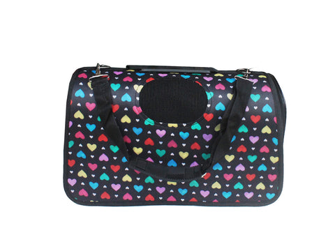 High Quality Big Dog  Foldable Carrier Colorful Hearts Design (Black)