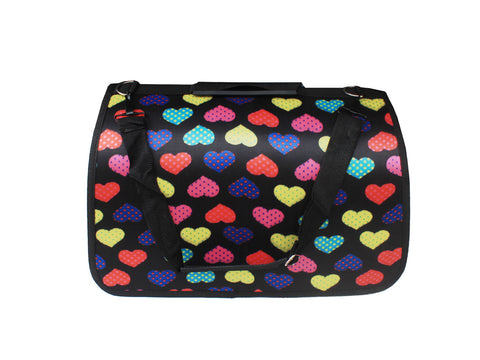 High Quality Big Dog  Foldable Carrier Colorful Big Hearts Design (Black)