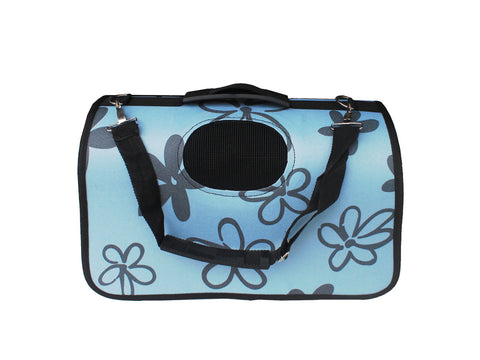 High Quality Big Dog Foldable Carrier Floral Design (Light Blue)