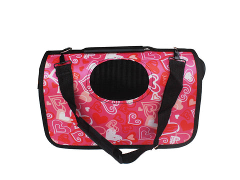 High Quality Small Dog  Foldable Carrier Pink Hearts Design