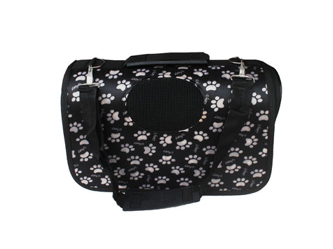High Quality Small Dog Foldable Carrier White Paw Prints Design