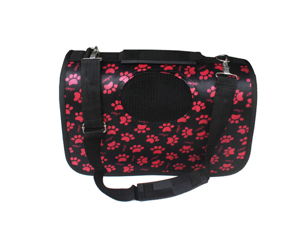 High Quality Small Dog Foldable Carrier Pink Paw Prints Design