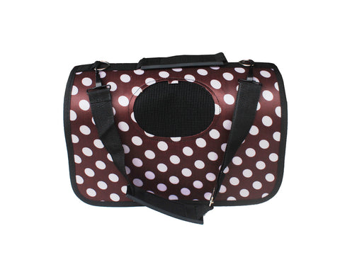 High Quality Small Dog Foldable Carrier Polka Dots Design (Brown)