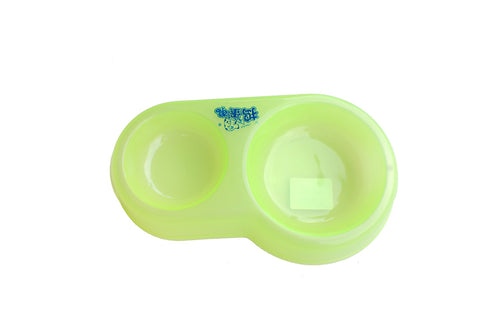 High Quality Dual Dog Bowl Plastic (Green)