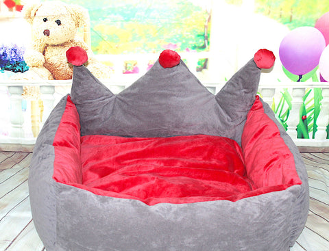 High Quality Pet Dog Cat Luxurious Princess Crown Design Bed (Large) 68x58x30cm