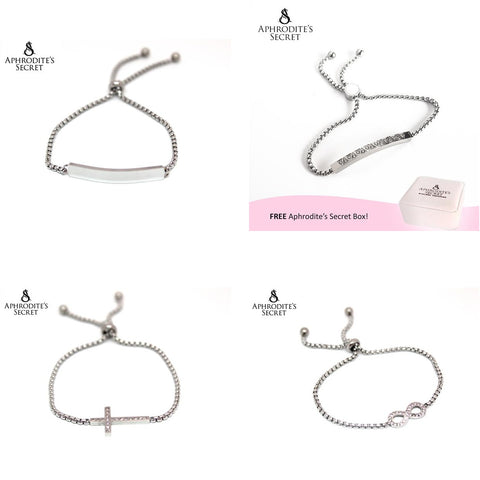 4PCS SET - Aphrodite's Secret High Quality Sliding Clasp Bracelet Design (Pandora Inspired) Stainless Steel