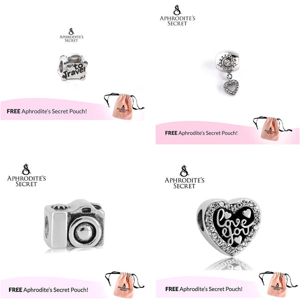 4 PCS - Aphrodite's Secret High Quality Charms/ Beads Design (Pandora Inspired) Stainless Steel