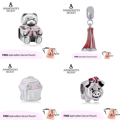 4 PCS - Aphrodite's Secret High Quality Charms / Beads (Pandora Inspired) Stainless Steel