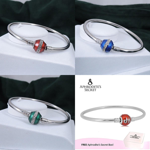 4 PCS - Aphrodite's Secret High Quality Charm Bangle - (Pandora Inspired) Stainless Steel