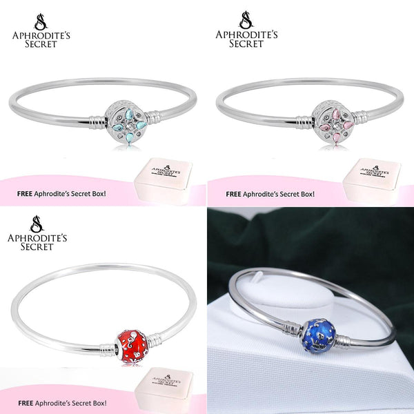 4 PCS - Aphrodite's Secret High Quality Charms Bangle - (Pandora Inspired) Stainless Steel