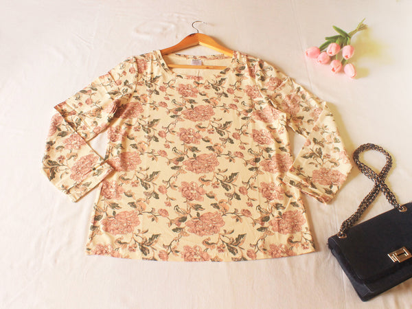 High Quality Women Floral Long Sleeves (Beige)