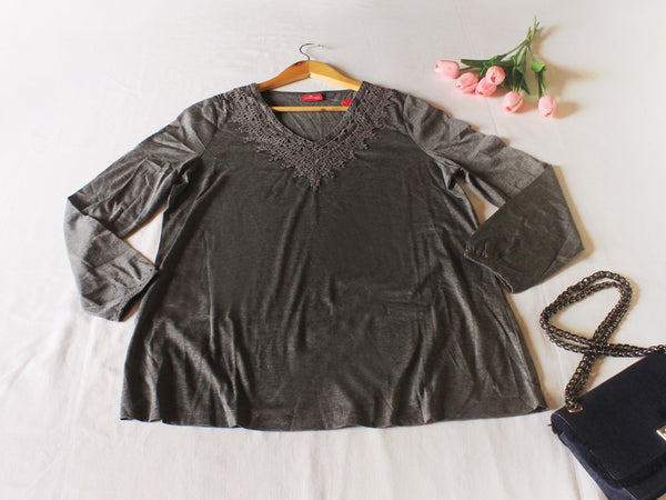 High Quality  Women V Neck Long Sleeves Plus Size  (Gray)