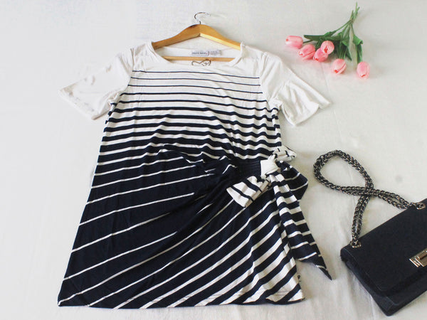 High Quality European Style Women Striped Short Sleeves with Ribbon Detail (Blue + White)
