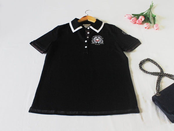High Quality  European Style Women Polo Shirt (Black)
