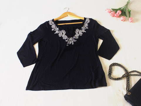 High Quality European  Style Women 3/4 sleeves with Tassel (Navy Blue)