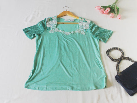High Quality European  Style Women Embroidered  with Lace Short Sleeves Plus Size (Green)