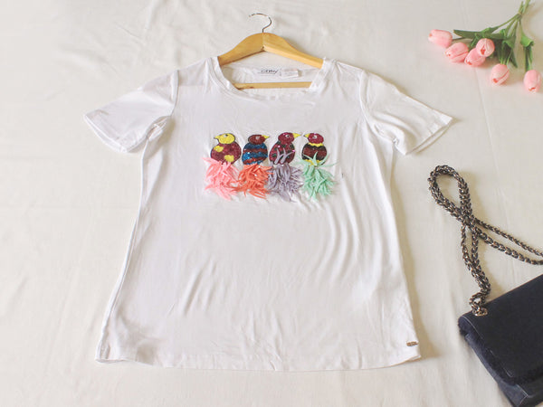 High Quality  European Style Women Casual Short Sleeves with sequins and cute design (White)